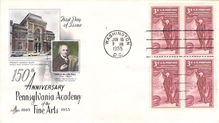 1955 Pennsylvania Academy Hand Colored Art Craft First Day Cover
