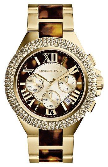 Michael Kors 'Camille' Crystal Bezel Chronograph Bracelet Watch, 43mm   Nordstrom
