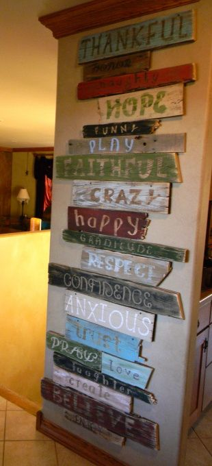 Wall of words, This is a project I made using a bunch of old wood an pallet wood i had. I cut sanded and then painted it in shades that match my decor. I used the Cricket machine to help with the letters and fonts....then distressed it using sandpaper, Wall of words, Home Decor Project