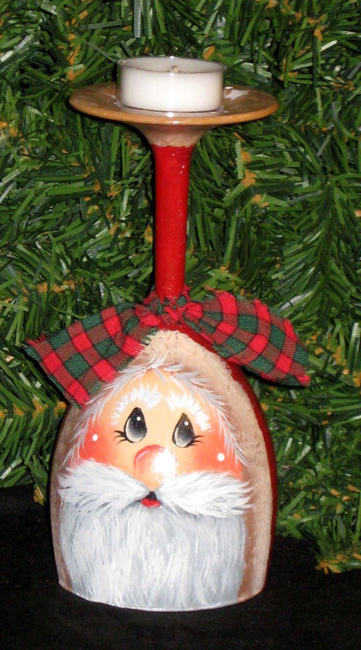 Santa candle holder vintage wine glass hand by KathysKountry, $14.00