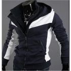 Stylish Men's Slim Hooded Contrast Color Sweater - White + Navy #StylishSweater