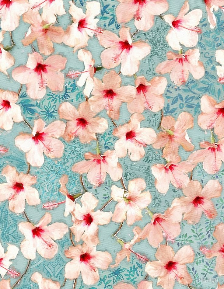 Shabby Chic Hibiscus Patchwork Pattern in Peach & Mint por micklyn