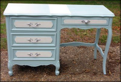 We have the same desk and matching chest of drawer, I want to paint them this colour now.  It looks so much more elegant and fresh than the cream and gold.