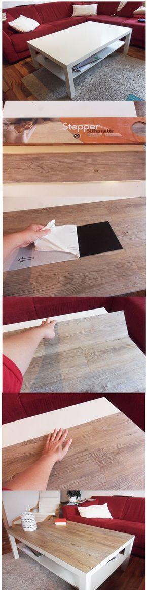 Ikea hack Ikea Lack Tisch - aufgewertet mit selbstklebendem PVC Laminat, ca 30€