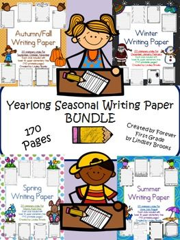 Seasonal writing paper for all 12 months BUNDLED!  Includes primary and upper elementary versions of each style (larger lines with dotted midline and smaller lines without midline). These writing papers can be used for holiday notes to parents, content writing about a seasonal topic, journaling, story writing, writing to display with seasonal projects, pen pal letters, friendly letters, persuasive letters, etc. The possibilities are endless! #writing