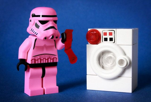 Problems of a Lego Stormtrooper with the laundry: Red sock & white clothes.