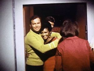 William Shatner goofing around with Nichelle Nichols #startrek #tos