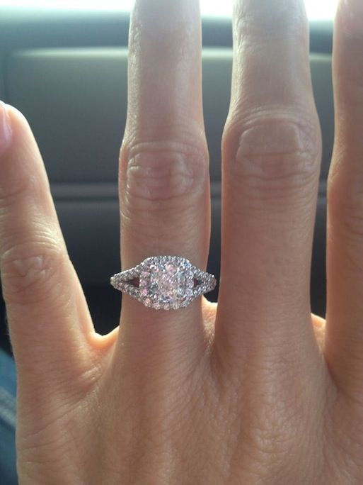 Real Ritani Engagements - Nick proposed to Lisa last week with this cushion cut diamond halo 'V' band engagement ring. Congratulations! | #RitaniPinterest