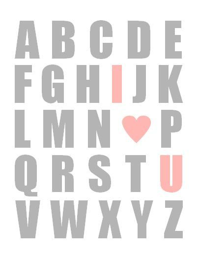 For my collage over the dresser... Baby Girl Wall Art, ABC Room Decor, Nursery Art Typography Print - Pink and Grey 8x10 Alphabet I Love You on Etsy, $19.00