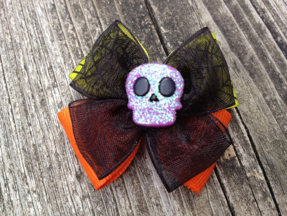 HALLOWEEN Ribbon hair bow french clip barrette by GlassStrawberry, $3.50