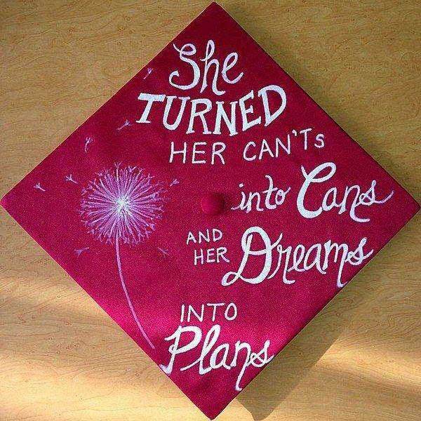 Dandelion Graduation Cap. I really adore the neat and simple design of this cap. It features some compliment about the graduate's achievement as well as beautiful dandelion pattern in a simple yet elegant style.
