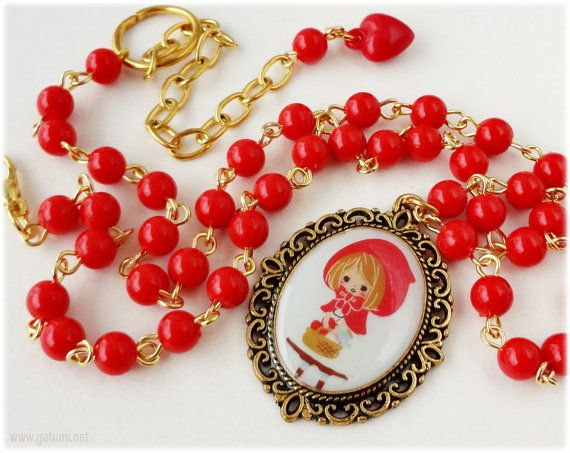 Little Red Riding Hood, Resin Cameo Pendant, Beaded Red Chain, Gold Plated - Sweet Lolita