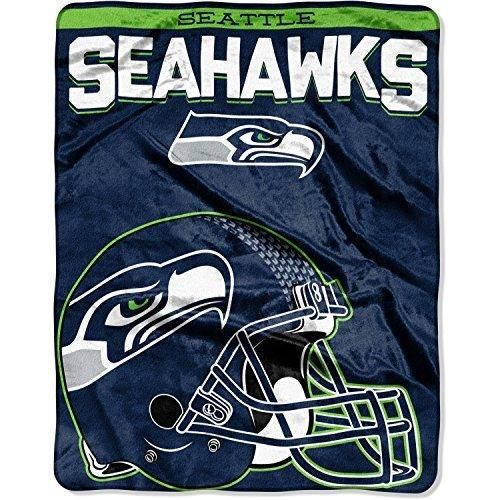NFL Seahawks Throw Blanket 55 X 70 Football Themed Bedding Sports Patterned Team Logo Fan Merchandise Athletic Team Spirit Fan Blue Bright Green Silver Silk Touch