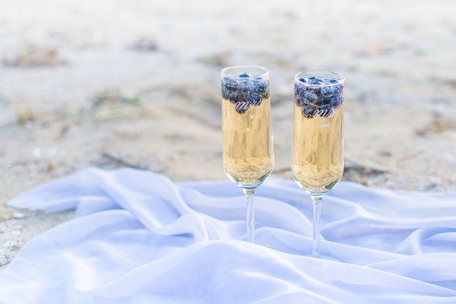 Mr Mrs Champagne glasses | Lauren Werkheiser Photography | see more on: http://burnettsboards.com/2016/02/beach-wedding-unique-color-palette/