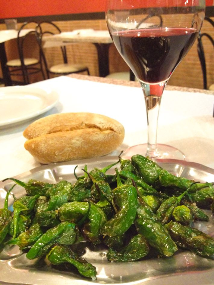 Pimientos de Padron: slightly fried and salted. Best with country-side style bread and red wine from Galicia! #spain