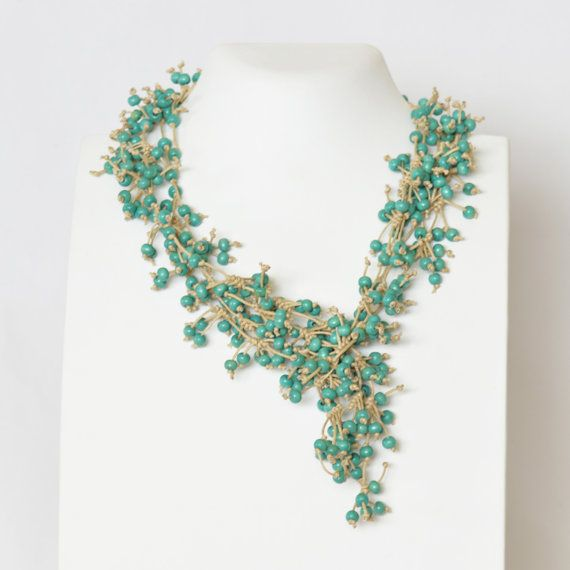 Necklace Turquoise Necklace Beaded Necklace Multi by Cardoucci