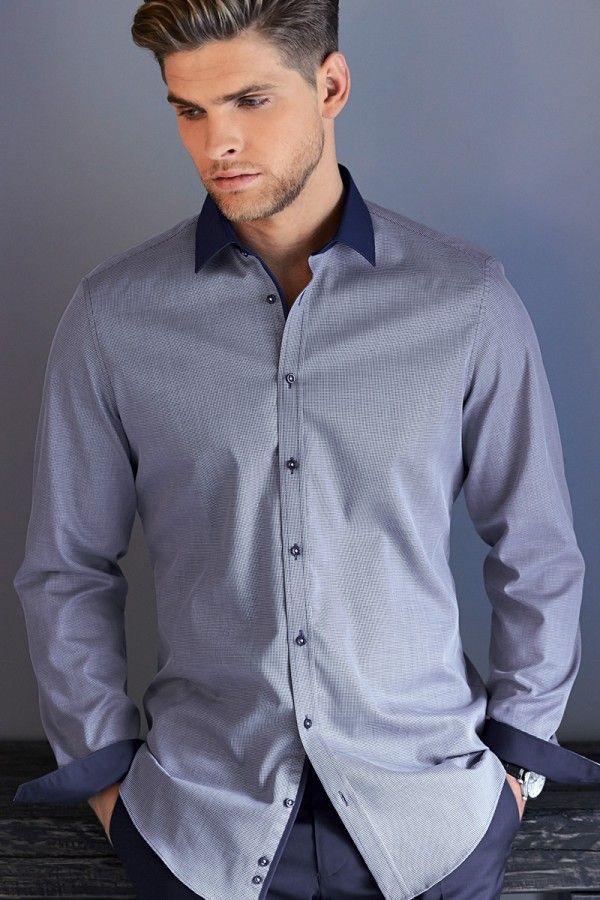 Print Muster | Venti Hemd Body Stretch Kent bedruckt blau