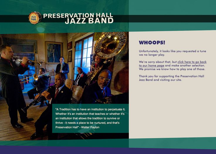 Whoops! Preservation Hall Jazz Band Error Page