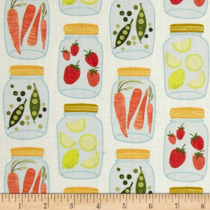 1 Canoe 2 Jars Light from @fabricdotcom  Designed by 1 Canoe 2 for Andover, this cotton print is perfect for quilting, apparel and home decor accents.  Colors include cream, shades of yellow, shades of green, shades of red and shades of orange.
