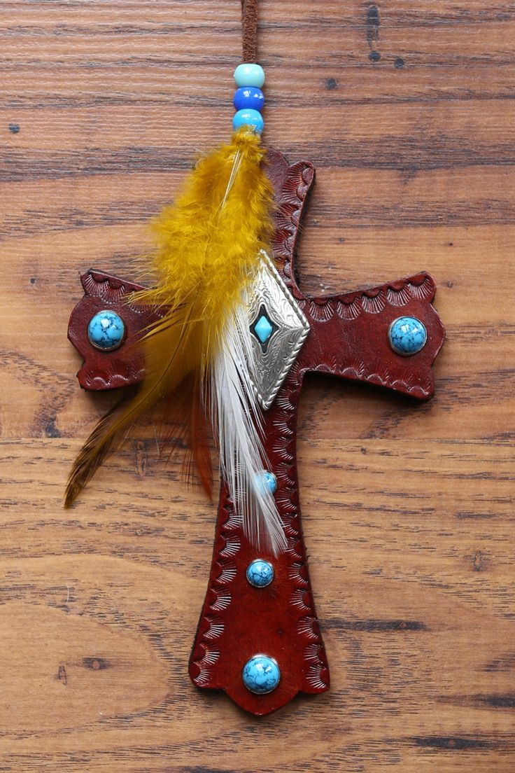 Leather Cross with Turquoise Embellishment by KellysLeatherDesign on Etsy
