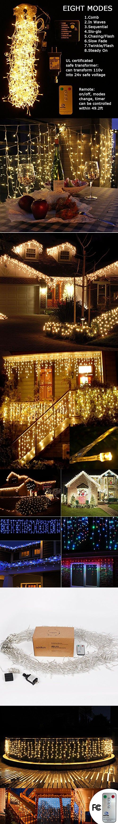 Christmas 33ftx3ft 480 Leds Curtain Icicle lights, Addlon 8 modes with Remote Window fairy Christmas lights,UL certificated Warm White string fairy lights for Home,Party, Outdoor, Wedding Backdrops