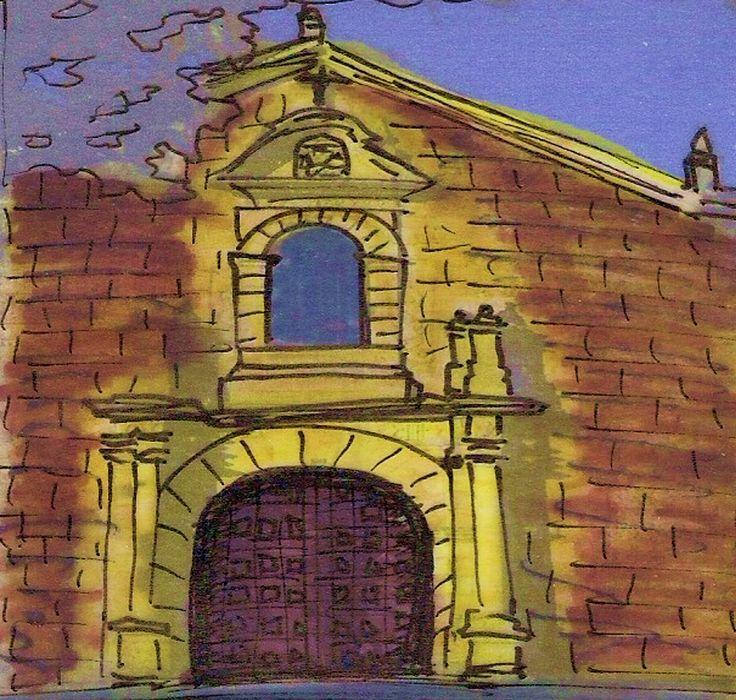 ''Iglesia de San Agustin'' Tecnica: Dibujo a mano alzada sobre pergamino, con marcadores y edicion con saturacion de color. Descripcion:Arquitectura de 1642-1667, programa:templo catolico de Colombia.  Autor:Bartolome y Jose de la Cruz