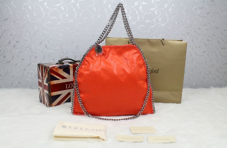 stella mccartney orange foldover falabella chain tote bag