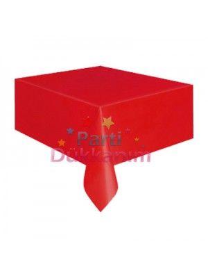 Kırmızı Masa Örtüsü Plastik Lüks 137x183