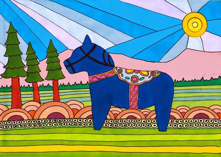 This A4 illustration, titled Spring in Dalecarlia, was inspired by the decorative wooden horses (Dalahäst) from the Dalecarlia (Dalarna) region of Sweden. It features a red Dala horse, set against an imagined Dalecarlian spring background. Materials used: promarkers and fine liner pen. This was destroyed by a very naughty French bulldog pup. #dalahorse #dalahäst #illustration #drawing #art #artwork