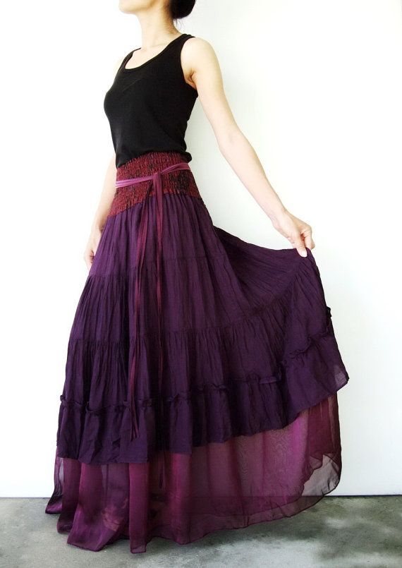 NO.36      Purple Cotton Tiered Peasant Skirt by JoozieCotton, $45.00
