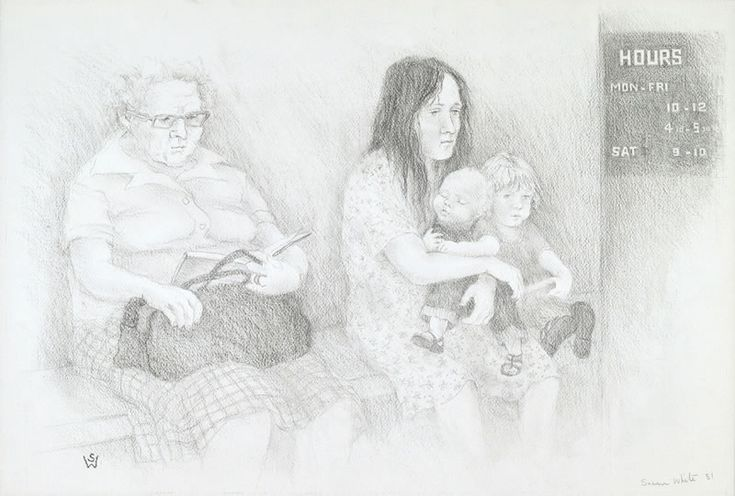 Women waiting, Dr. Laycock's surgery, Johnston St. 1981 pencil 38 x 56 cm by © Susan Dorothea White