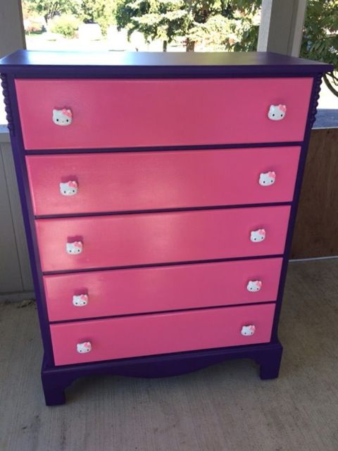 The Hello Kitty drawer knobs installed on a purple dresser with pink drawers. I love it when customers send pictures of their projects!