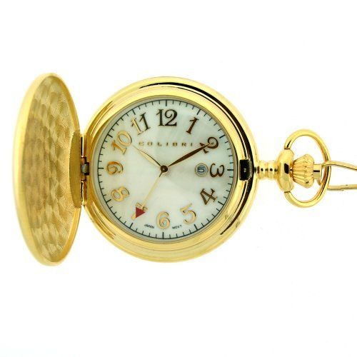 Colibri Pocket Watch Gold Tone Mother of Pearl 586003 Colibri. $29.95. Case Diameter 48 MM. Gold Tone Case with Mother of Pearl Dial. Pocket watch chain Included. Three Hand Quartz Movement with Date