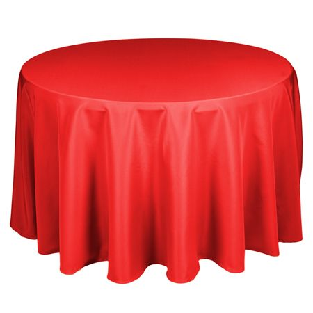 TCPY-90RD 90 Inch Round Polyester Red Tablecloth single $6.39 and wholesale $150.29