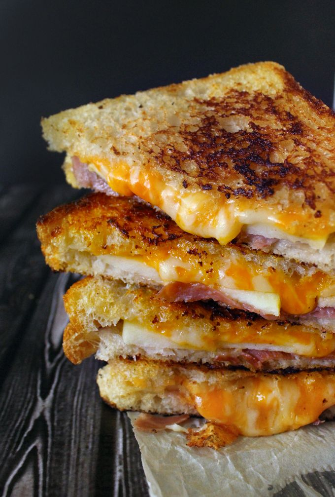 prosciutto, apple, gruyere grilled cheese + toast