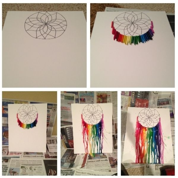 Dreamcatcher melted crayon art: 1) Sketch dreamcatcher onto foam board with pencil, then outline in sharpie 2) Peel crayons (optional), break in half, and use a hot glue gun to attach to board 3) Cover floor and wall with newspaper and lean board at an angle 4) Heat crayons with a blow dryer, pointing downward by kristine