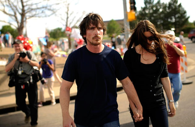 Bale and his wife Sibi Blazic visit a memorial on Tuesday in Aurora. (Photo: Hyoung Chang/The Denver Post/POLARIS)