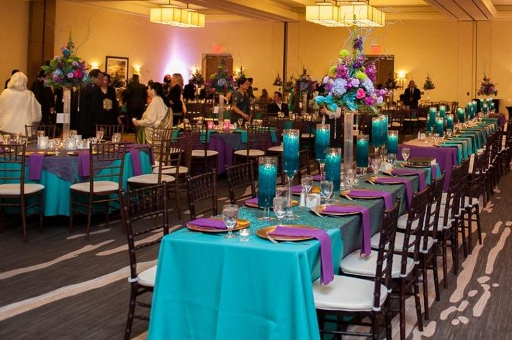 pictures of decorated tables in peacock and leopard   Teal And Purple Wedding Decor Pictures