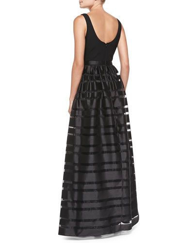 T8N3Z Aidan by Aidan Mattox Sleeveless Banded Skirt-Overlay Gown