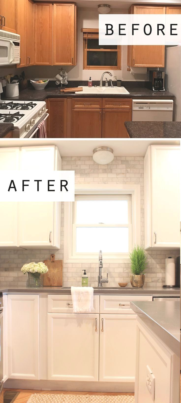 Cottage Style Before And After Kitchen Makeover Featuring