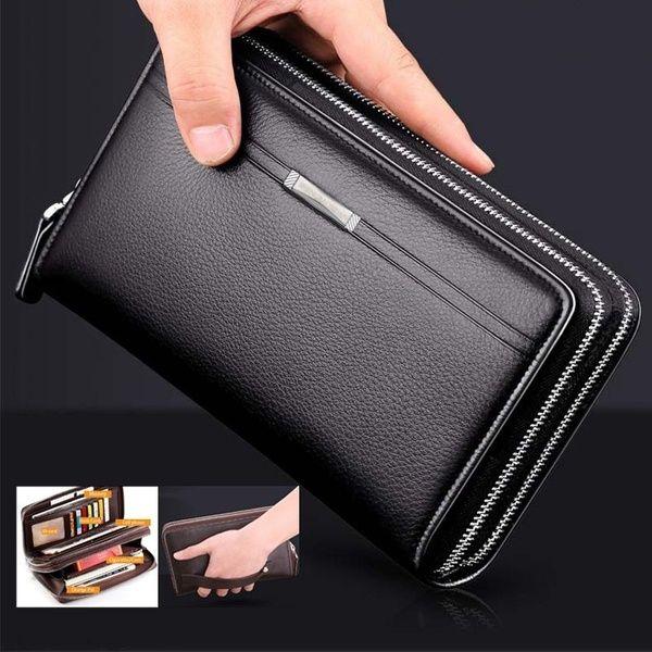 Men's Leather High Capacity Long Clutch Wallet Credit Card Business Zipper Purse