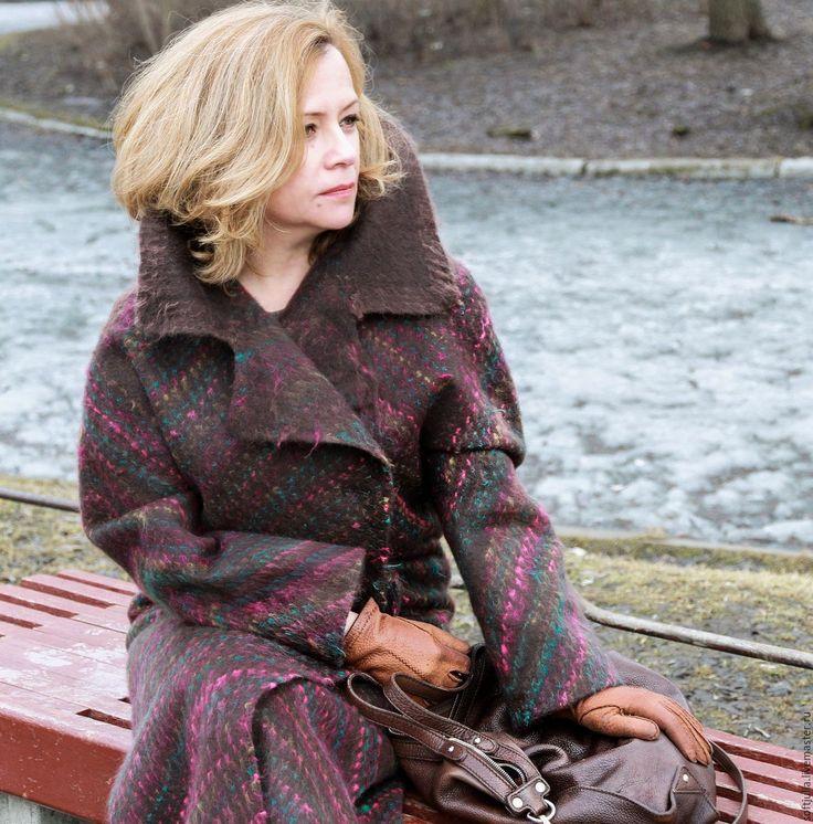 """Купить Валяное пальто """"Кашемир и волшебство"""" - коричневый, кашемировое пальто, пальто из кашемира, пальто демисезонное"""