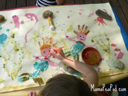 quite possibly my favorite handprint activity of all time -- sparkly handprint mermaids! #CampSunnyPatch #UnderTheSea
