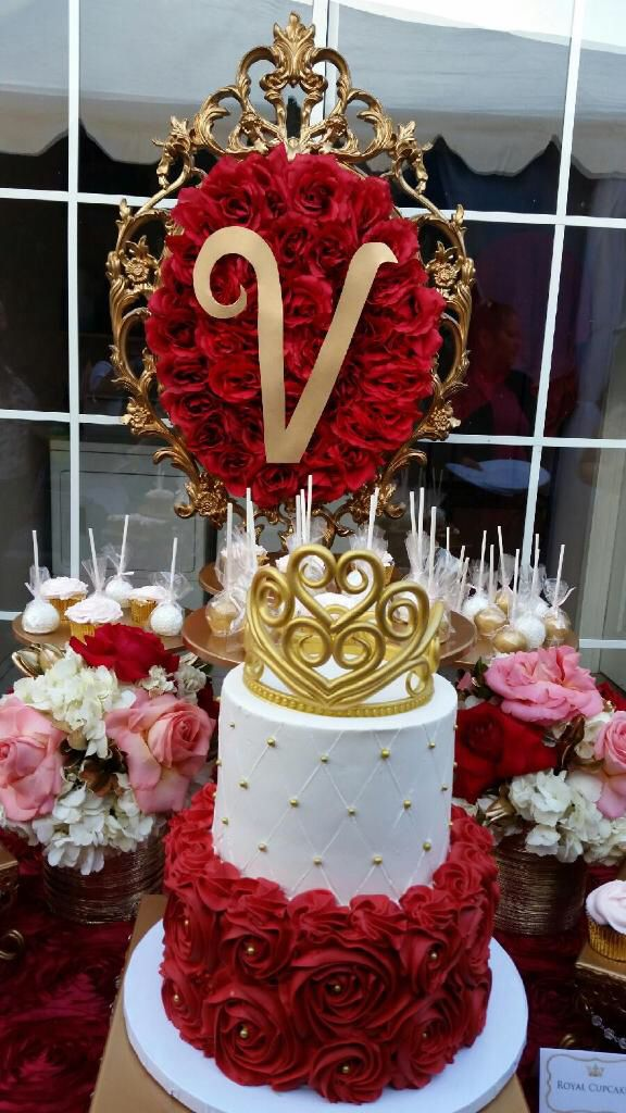 Red Gold Royal Princess Themed Baby Shower Styled By Pretty Little Showers In 2018 Pinterest Quinceanera And Cake