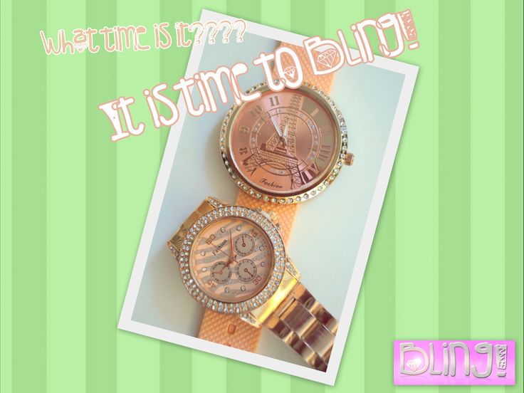 Get your Bling on now and always be on time with style!!  #BlingbyMV #Bling #watches #fashion #somon #summer #gold #pink #eiffeltower #stripes #shiny #sparkly #pireaus  Ρολόι Fashion με ροζ χρυσό και λουράκι καουτσούκ Τιμή:14,90  Ρολόι Fashion ροζ χρυσό με μπρασελέ Τιμη:17,90
