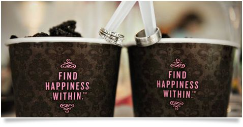 Custom Ice cream bowls for your wedding-such a cute ring picture too!