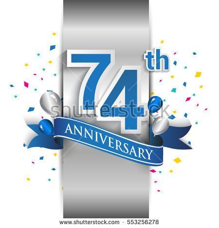 74th anniversary logo with silver label and blue ribbon, balloons, confetti. seventy four Years birthday Celebration Design for party, and invitation card