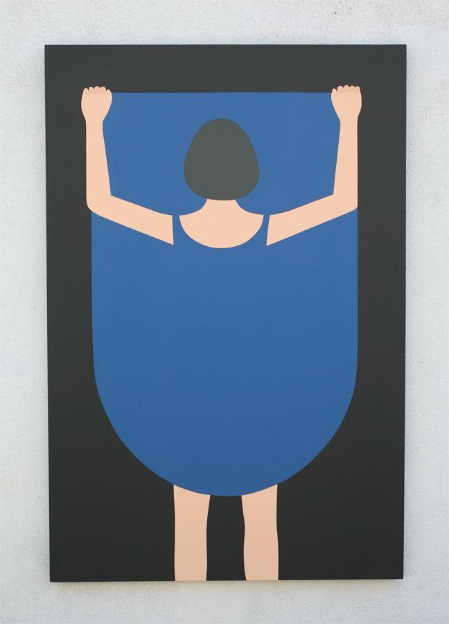 "Geoff Mcfetridge ~ ""Girl Lifting Skirt 2"" 48 x 72 in."