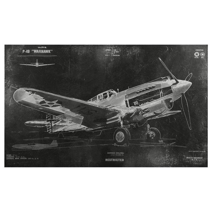 Tableau - Avion de guerre vintage   Bouclair.com