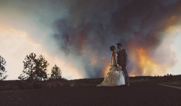 Rain on your wedding day is supposed to be good luck but what about fire? The Oregon wildfire sparked stunning photos for one Oregon couple.